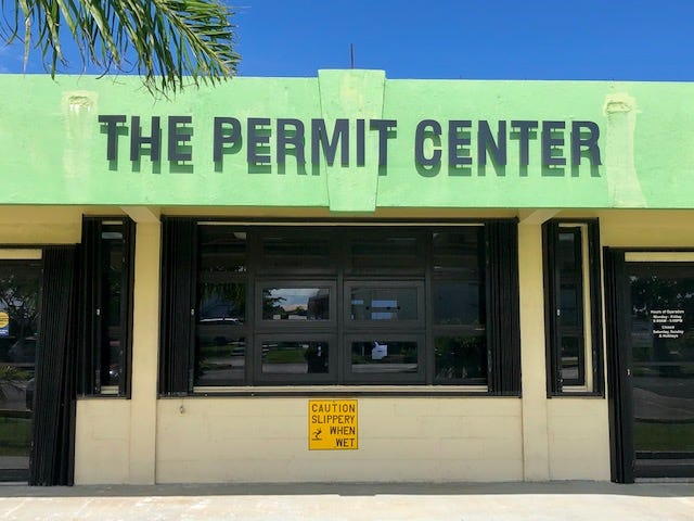 The facade of the Department of Public Works' Permit Center, where some government agencies that deal with construction permitting and inspections are represented in one place for efficiency and convenience. The photo was taken on July 26, 2019.