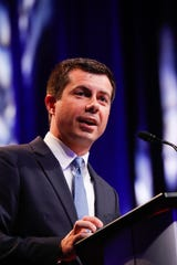 Pete Buttigieg speaks July 26, 2019 to the National Urban League in Indianpolis