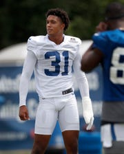Indianapolis Colts cornerback Quincy Wilson (31) during their preseason training camp practice at Grand Park in Westfield on Friday, July 26, 2019.