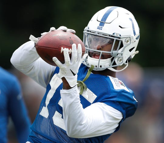 Indianapolis Colts wide receiver Parris Campbell (15) during their preseason training camp practice at Grand Park in Westfield on Friday, July 26, 2019.
