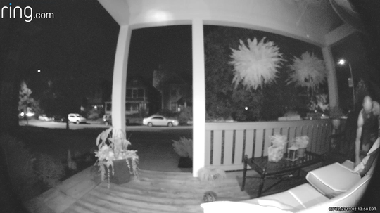 A Ring doorbell system captured footage of a man suspected of setting a fire on the victims' porch.