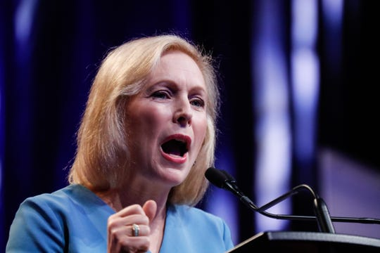 U.S. Sen. Kirstin Gillibrand, a Democratic presidential candidate, addresses the National Urban League conference in Indianapolis on Friday, July 26, 2019.