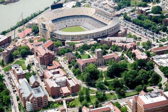 An aerial view of Neyland Stadium and Ayres Hall on the University of Tennessee campus in Knoxville, Tennessee on Thursday, May 2, 2019.