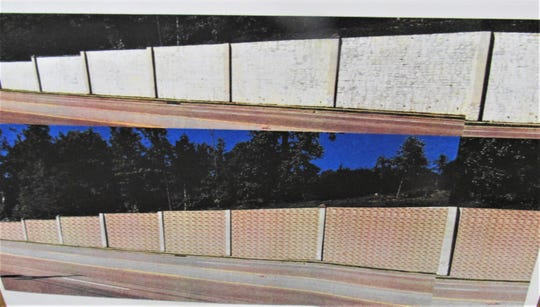 This depiction was presented to BOMA on July 25 and shows the existing retaining wall (top) on North Campbell Station Road. The bottom shows a proposed brick façade to correct the structural issues. The brick color and any pattern are to be determined. (MH)   Photo by Margie Hagen and 3 submitted by Barb Wright, director of MASH program.