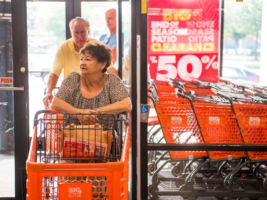 Gail Kurtz is the first customer in line as she waits for the opening of the Big Lots on N. Seven Oaks Drive in West Knoxville on Friday, July 26, 2019.