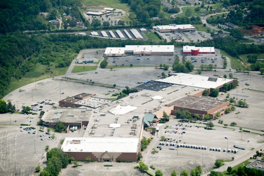 An aerial view of Knoxville Center Mall, also known as East Town Mall, in Knoxville, Tennessee on Thursday, May 2, 2019.