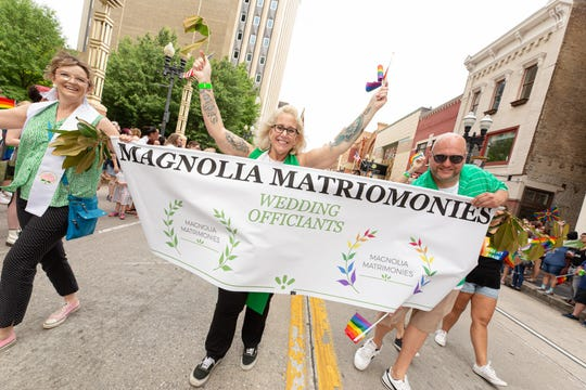 Colleen Munyan marched in the 2019 Knox Pride Parade. She officiates weddings for couples regardless of their gender identification or sexual preference.