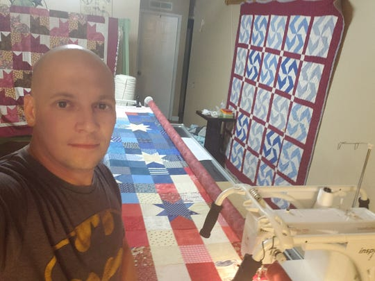 Andrew Lee began quilting as a way to spend time with his wife, Kristy, but continued the hobby to help cope with his PTSD and to inspire others with his story.