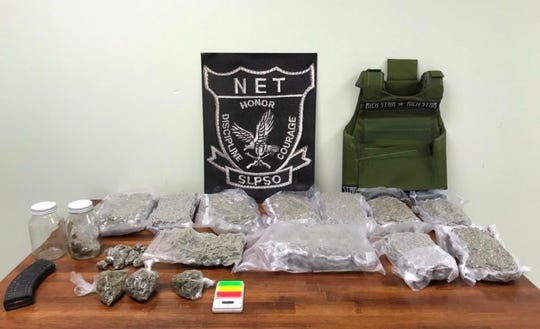 Marijuana and drug paraphernalia seized from a Eunice home on July 24, 2019.