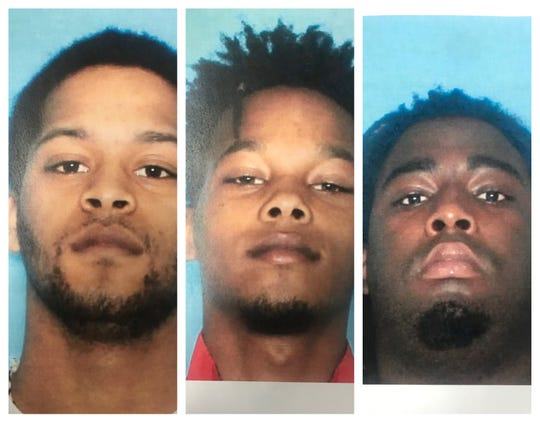 From left to right: Daronksky Stevens, Daricko Stevens and Cortez Skinner are being sought by the St. Landry Parish Sheriff's Office in connection with a drug bust at a Eunice home on July 24, 2019.