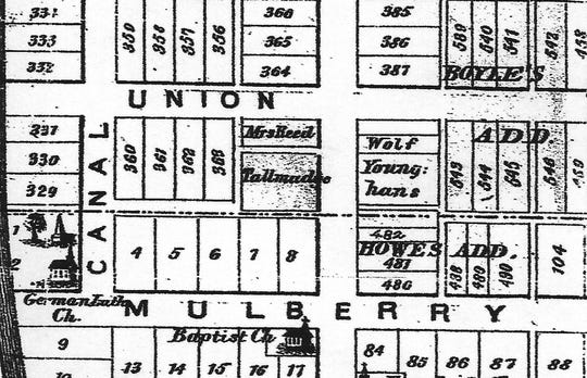 "This 1875 map of Lancaster has ""Mrs. Reed"" written on her lot instead of a lot number. The address became 339 N. Columbus St."