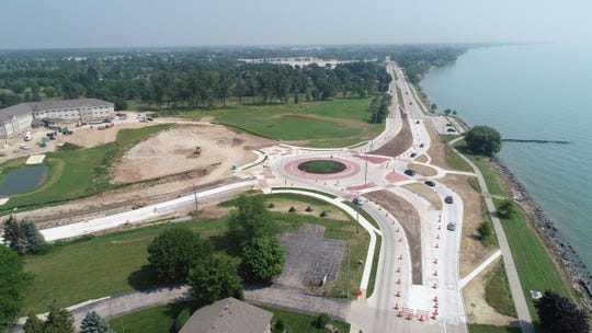 Aerial view of the Waldo Boulevard reconstruction in Manitowoc.