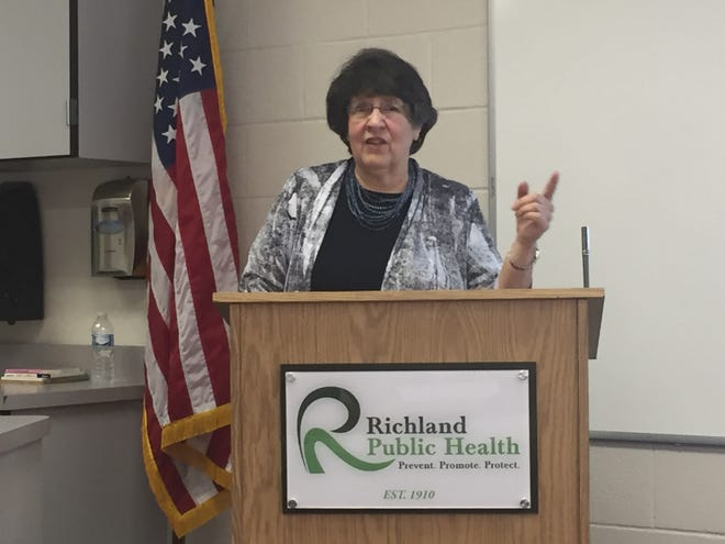 Dr. Celia Flinn talks about the Dolly Parton Imagination Library during a press conference Friday at Richland Public Health.