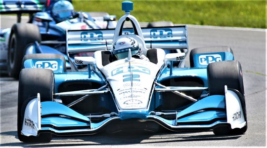 Team Penske's Josef Newgarden, the NTT IndyCar Series points leader, crashed during his afternoon practice round setting him back a little bit