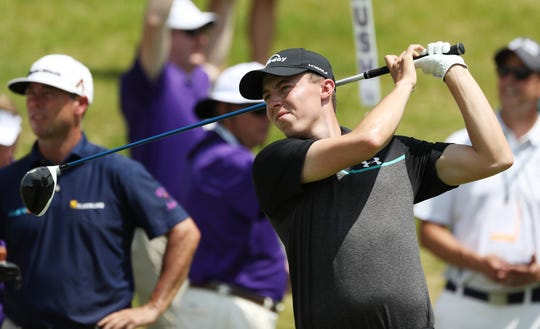 Matthew Fitzpatrick takes a shot at the World Golf Championships FedEx St. Jude Invitational Friday, July 26, 2019, at TPC Southwind in Memphis, Tenn.