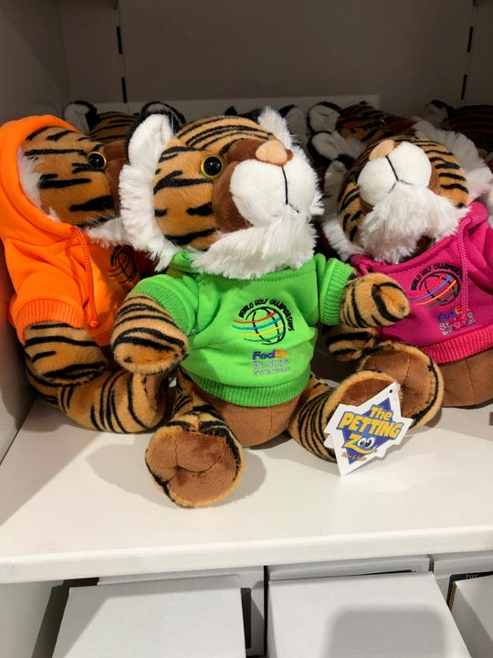 A stuffed tiger at the WGC-FedEx St. Jude Invitational merchandise tent.