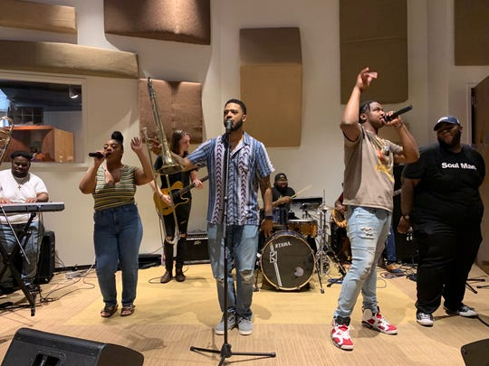 "Kameron Whalum, 30, closes Funky Fridays' last session with the Bruno Mars song ""Uptown Funk"" with students and alumni of the Stax Music Academy. Whalum, Bruno Mars' backup singer and trombone player, hosted Kickin' It With Kameron this summer after he toured across the globe for two years."