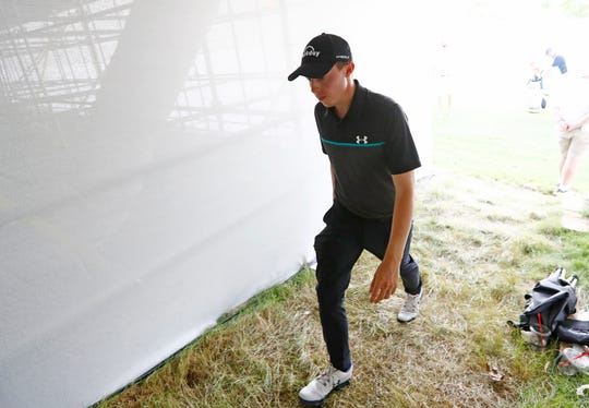 Matthew Fitzptarick walks from the 17th green to the 18th tee as he leads the pack late in the second round at the World Golf Championships FedEx St. Jude Invitational on Friday at TPC Southwind.