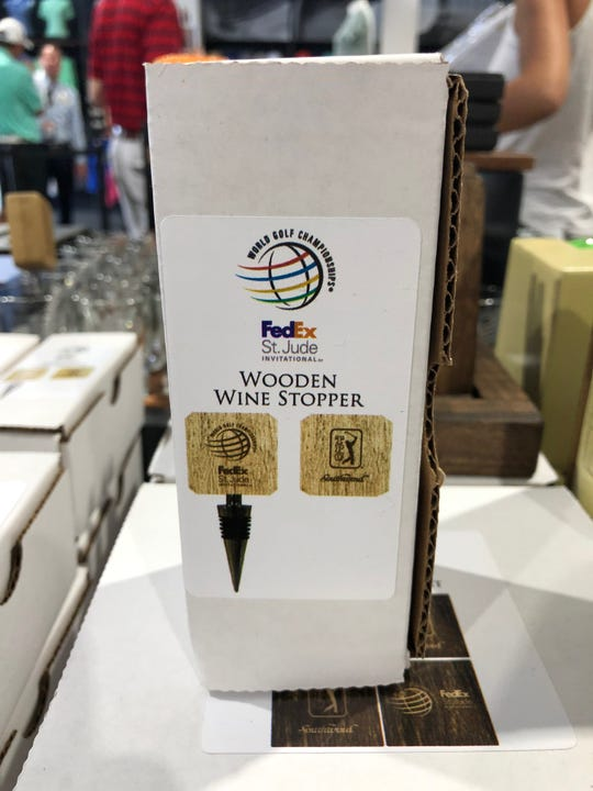 A wooden wine stopper at the WGC-FedEx St. Jude Invitational merchandise tent.