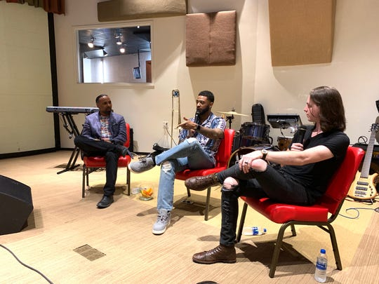 "Lawrence ""Boo"" Mitchell, left, Kameron Whalum, middle, and Nick Black discuss Memphis' effect on soul music during Funky Fridays' last session. Whalum, Bruno Mars' backup singer and trombone player, hosted Kickin' It With Kameron this summer after he toured across the globe for two years."