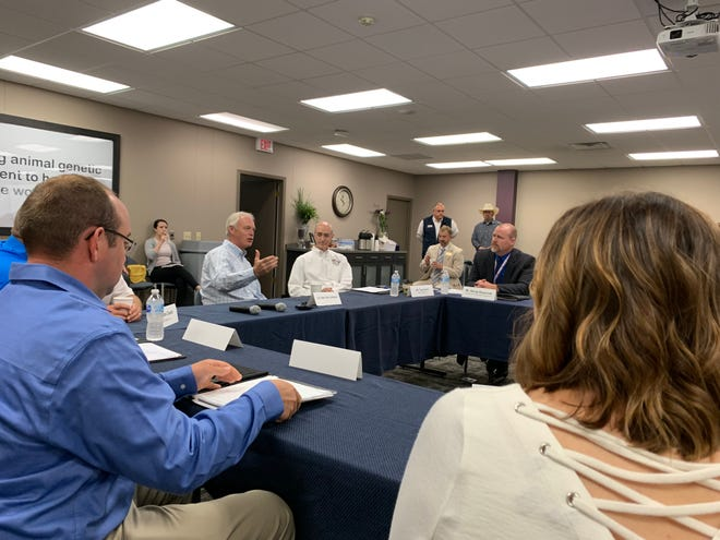 U.S. Sen. Ron Johnson meets with dairy farmers at ABS Global in DeForest to discuss the trade agreement with Canada and Mexico.