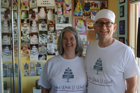 Barbara (left) and Andy Ruggeri took over Cakes While U Wait in Pewaukee in April.