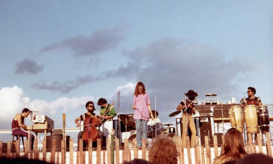 Sweetwater, a rock band that also performed at Woodstock later that summer, takes the stage at the Midwest Rock Festival at Wisconsin State Fair Park in West Allis on July 25, 1969.