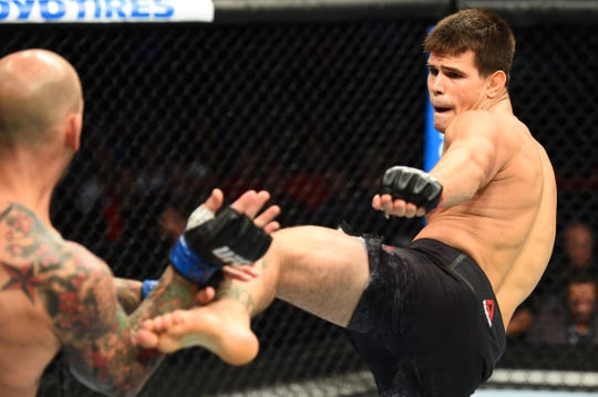 LINCOLN, NE - AUGUST 25:  (R-L) Mickey Gall kicks George Sullivan in their welterweight fight during the UFC Fight Night event at Pinnacle Bank Arena on August 25, 2018 in Lincoln, Nebraska. (Photo by Josh Hedges/Zuffa LLC/Zuffa LLC via Getty Images)