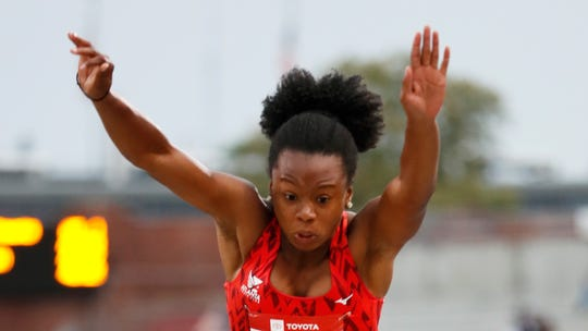 Keturah Orji leaps to the pit during the women's triple jump at the U.S. Championships on Thursday in Des Moines, Iowa.