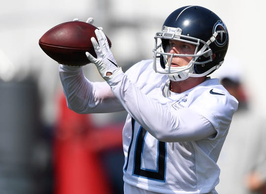 Titans wide receiver Adam Humphries (10) pulls in a pass during practice at Saint Thomas Sports Park Friday, July 26, 2019, in Nashville, Tenn.