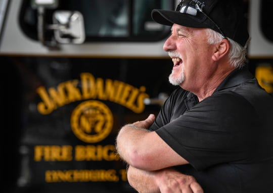 Fire Chief and Security Supervisor Fred Elliott shares a laugh with other members of Jack Daniel's Volunteer Fire Brigade after training Monday, July 22, 2019, in Lynchburg, Tenn.