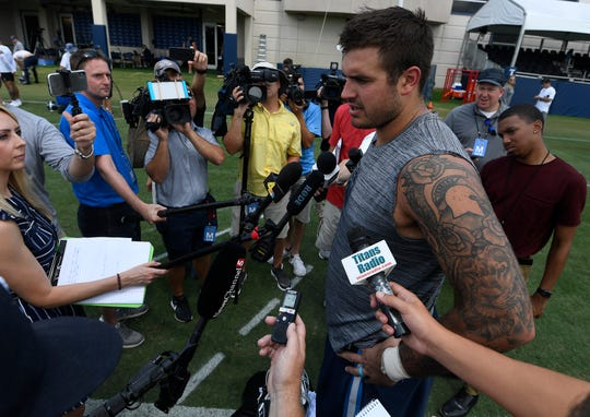 Titans offensive tackle Jack Conklin (78) talk with the media after practice at Saint Thomas Sports Park Friday, July 26, 2019, in Nashville, Tenn.
