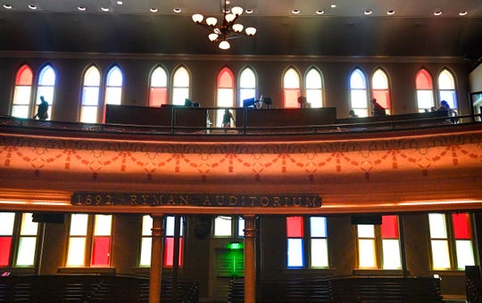 The iconic stained-glass windows at the Ryman Auditorium in Nashville. First opened as the Union Gospel Tabernacle in 1892, the Ryman is now one of the country's most acclaimed concert venues.