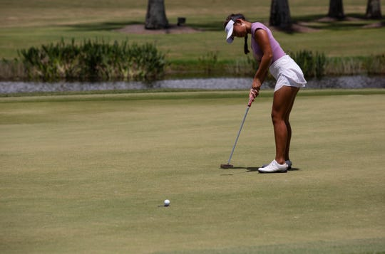 Kim Egozi makes her birdie putt on her 18th hole during the 27th Patty Berg Junior Championship on Friday, July 26, 2019, at Wyndemere Country Club in Naples.