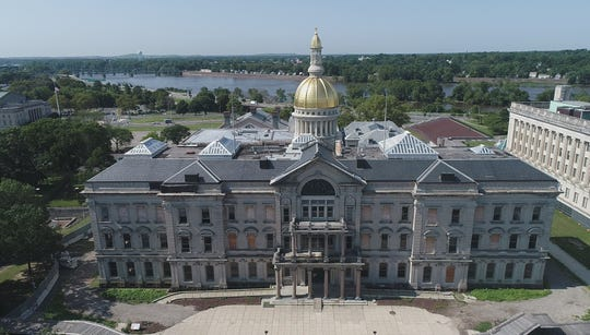 Aerial images on the NJ State House while undergoing renovations on Thursday July 25, 2019 in Trenton, N.J.