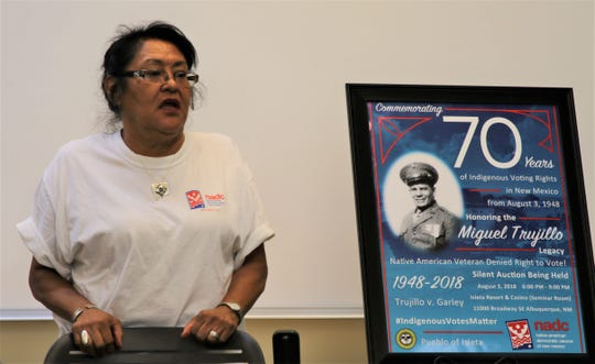 "Native American Democratic Caucus of New Mexico chairwoman Aleta ""Tweety"" Suazo shares information about the organization on July 25 at Diné College's south campus in Shiprock."
