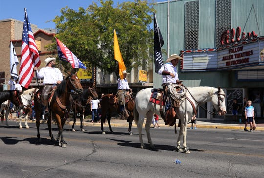 Couy Griffin rides at the front of the Cowboys for Trump group during the Connie Mack parade.