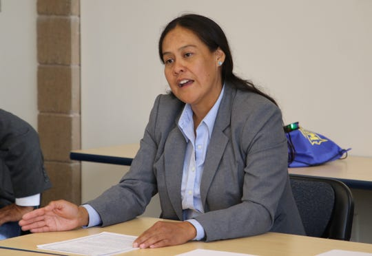 New Mexico State Sen. Shannon Pinto participates in the Native American Democratic Caucus of New Mexico public forum on July 25 at Diné College's south campus in Shiprock.