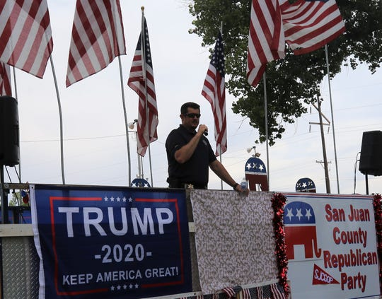 San Juan County Sheriff Shane Ferrari speaks during a rally, Thursday, July 25, 2019, in Riverside Park.