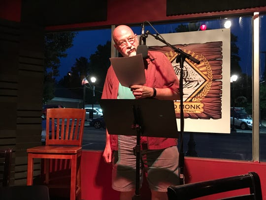 Joe Matuzak at the poetry reading July 20 at Third Monk Brewing marking the 50th anniversary of the moon landing.