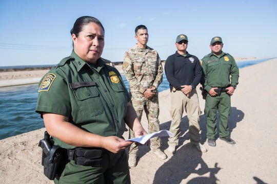 Chief Patrol Agent Gloria Chavez of the El Centro Customs and Border Protection sector speaks to members of the media on July 25, 2019.