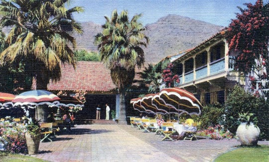 The east entrance and luncheon patio at the Desert Inn.