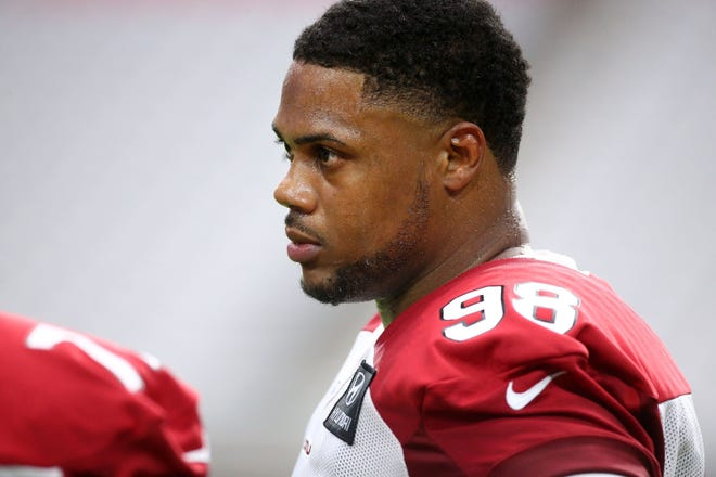 Arizona Cardinals defensive tackle Corey Peters (98) during training camp on July 25, 2019 in Glendale, Ariz.