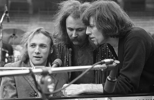 "Stephen Stills (from left), David Crosby and Graham Nash are seen at Balboa Stadium in 1969 in ""David Crosby: Remember My Name."""