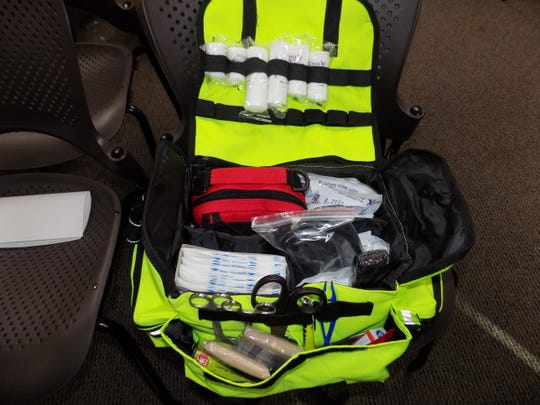 A look inside 1 of the 15 medical bags.