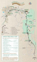 A map of the Lebanon Valley Rail Trail. The new section can be seen as a dotted line in the left portion of the map.