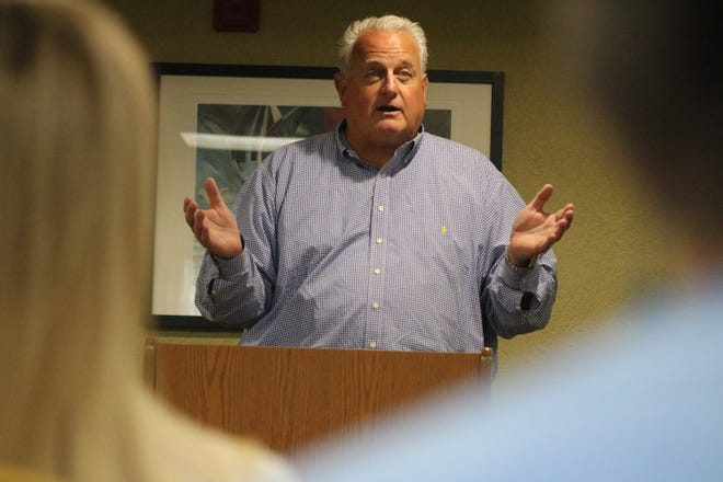 John Lipaj, of the Lake Erie Foundation, discussed the proposed offshore wind turbine project for Lake Erie at the Marblehead Peninsula Chamber of Commerce's community business update meeting this week.