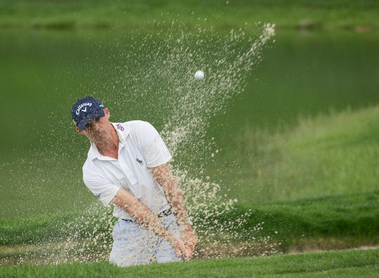 Jonathan Byrd chips onto the 1st green during the Barracuda Championship PGA golf tournament at Montrêux Golf and Country Club in Reno on Friday.