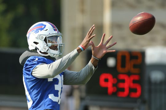 Bills cornerback Levi Wallace makes a break on the ball during training camp.