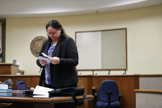 Emily Mees, Shasta County's deputy district attorney, prepares for a Theodore Loos arraignment on Friday, July 26.